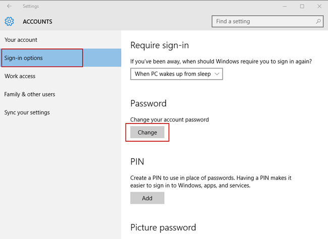 remove windows 10 password in sign-in options