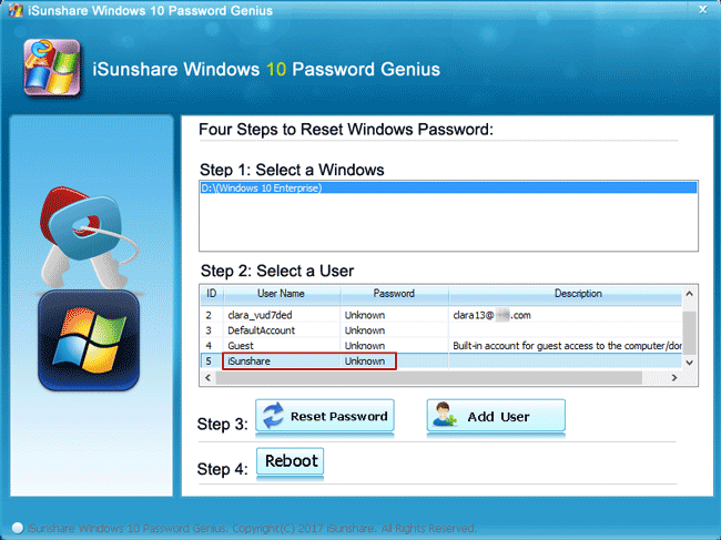 select windows 10 user to remove password