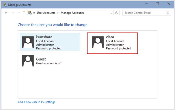 choose windows 10 user to change password