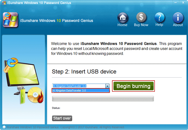 create a bootable usb drive with isunshare software