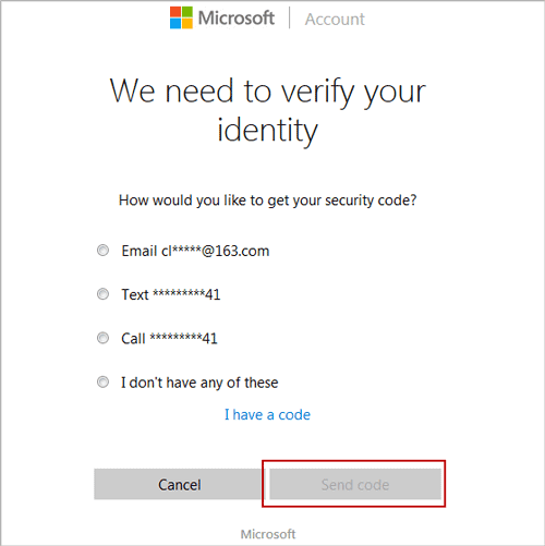get security code via email or phone