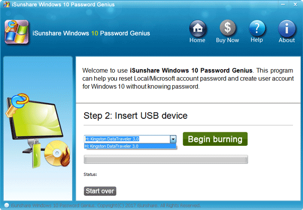 burn password remover program into usb drive