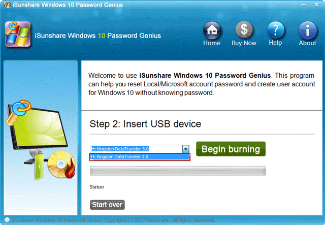 burn iSunshare program ISO image file into USB