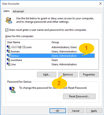 choose administrator account to remove in user account
