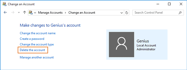 delete administrator account in control panel