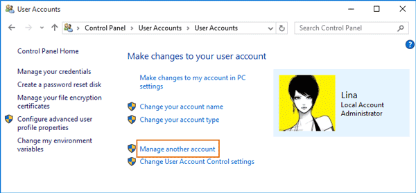manage another user in control panel