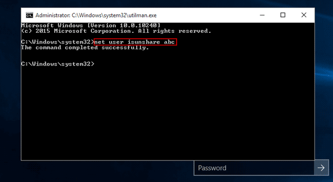 remove windows 10 administrator password with command prompt