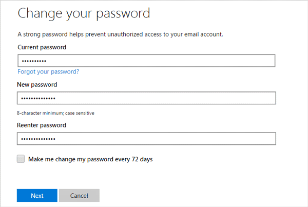 change microsoft account password to unblock it