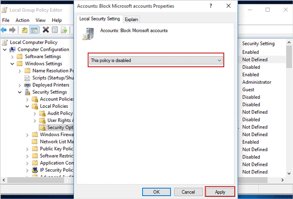 disable policy 'block microsoft account'
