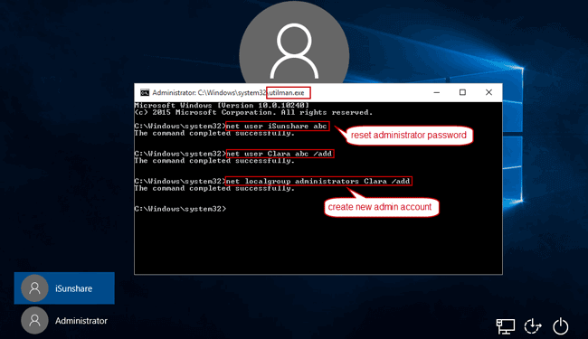 reset windows 10 administrator password using command prompt