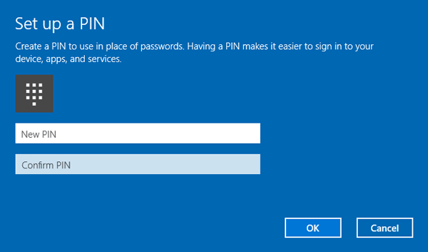 reset pin code while logon with microsoft account