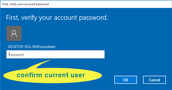 verify current account password