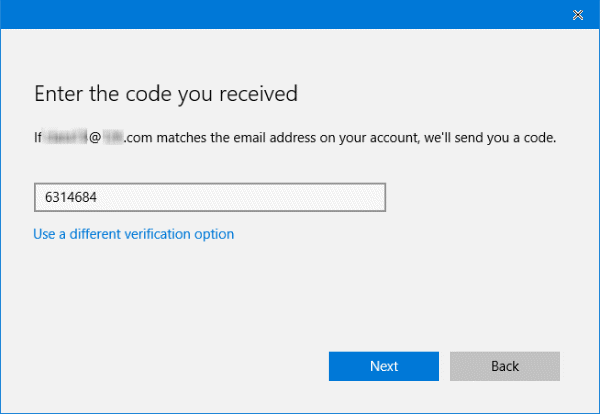 verify current microsoft account via security code