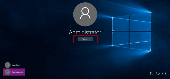 sign in Windows 10 laptop with default administrator