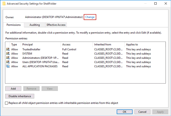choose to change advanced security settings for shellfolder