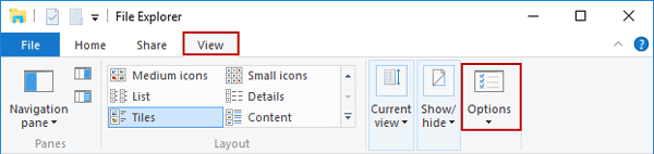 open folder options in Windows 10