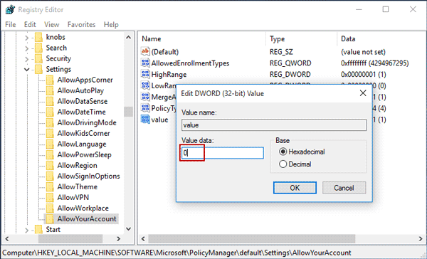 set allowyouraccount value to disable Microsoft account