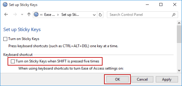 how to disable sticky keys windows 7