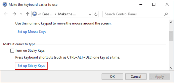 2 Ways to Disable Sticky Keys Keyboard Shortcut in Windows 10