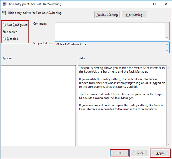enable or disable fast user switching using group policy
