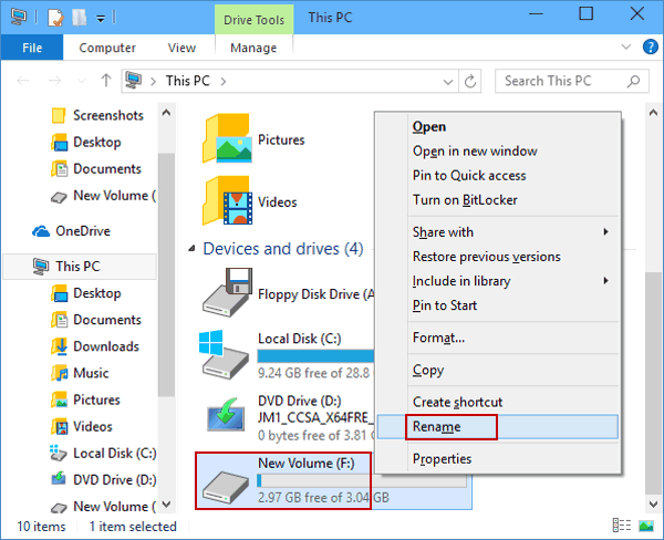 how to rename a computer windows 10