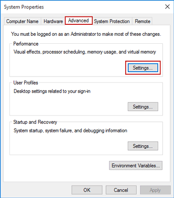 choose to change system performance settings