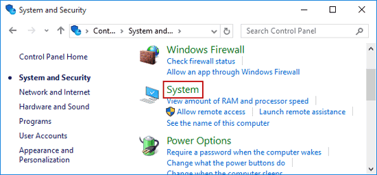 click system in system and security window