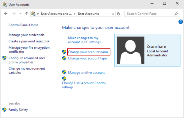 3 ways to change user account name in windows 10