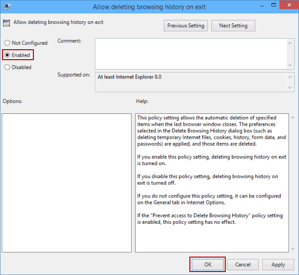 enable setting
