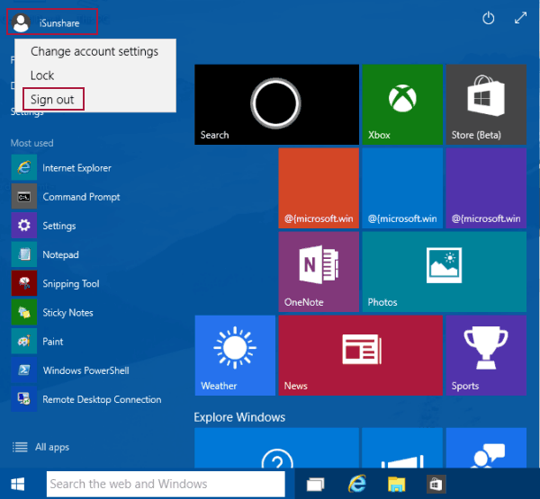 cannot sign out microsoft account windows 10