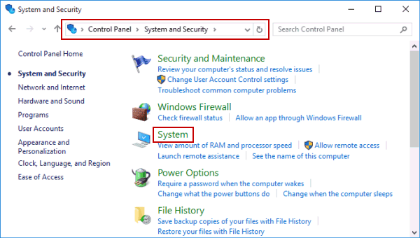 Image result for windows 10 System control panel page