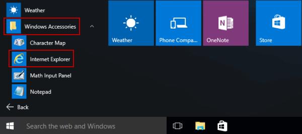 5 راه دسترسی به مرورگر Internet Explorer در ویندوز 10 open-internet-explorer-in-start-menu