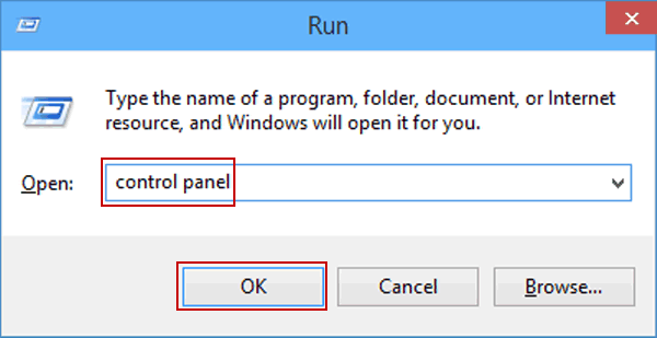 Open Control Panel Windows 10