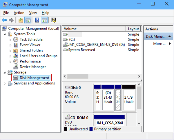 Select the Disk Management tool