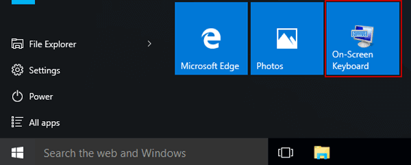 Add and Remove On-Screen Keyboard in Start Menu