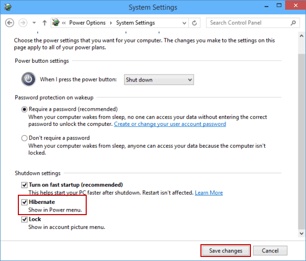 Add hibernate to power options menu on windows 10 step 4 check the small box before hibernate in shutdown settings and hit save changes ccuart Gallery