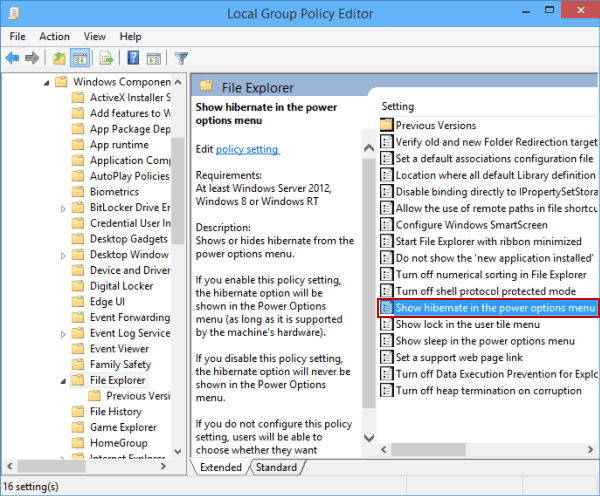 Add hibernate to power options menu on windows 10 in detail this setting is located in computer configurationadministrative templateswindows componentsfile explorer ccuart Images