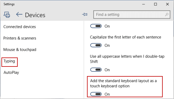 Add Standard Keyboard Layout to Touch Keyboard Options