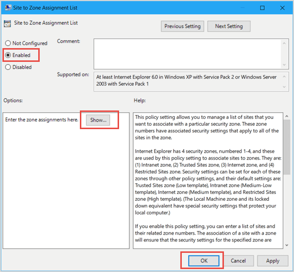 Adding Trusted Site to Group Policy in Windows 10