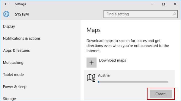 Cancel Downloading Offline Maps in Windows 10