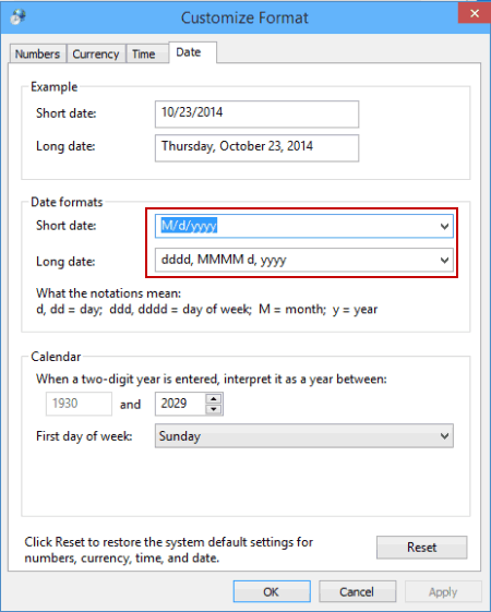 ... change date and time formats at one time in the Region window, as