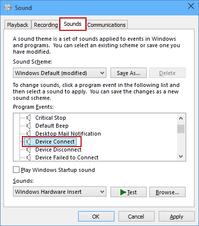 Change Device Connection Sound In Windows 10