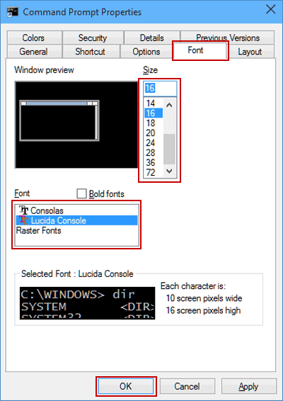 Change Font and Font Size in Windows 10 Command Prompt