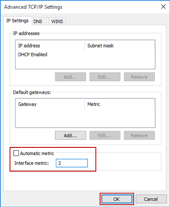 change network priority in network protocol advanced settings