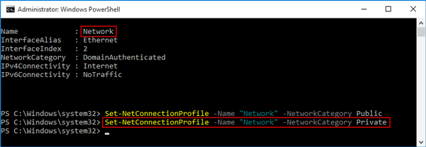 change network type with powershell command