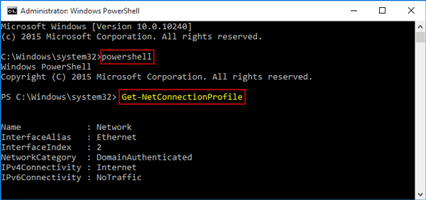 get network name with powershell command