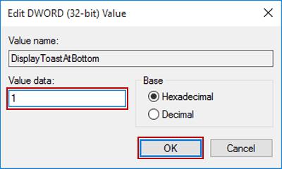 Change Notification Display Location in Windows 10