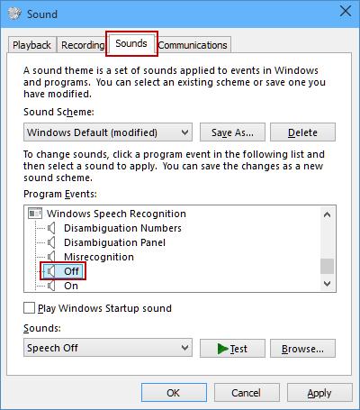 Change on/off Sound for Windows Speech Recognition