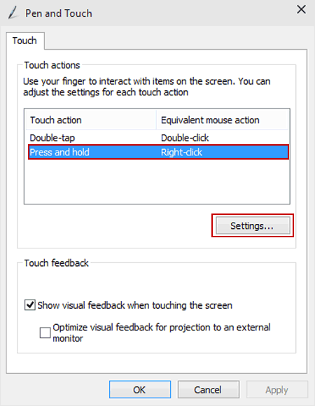 Change Press and Hold Duration for Right-clicking on Win 10