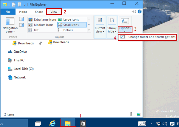 steps to change search options for files and folders in windows 10